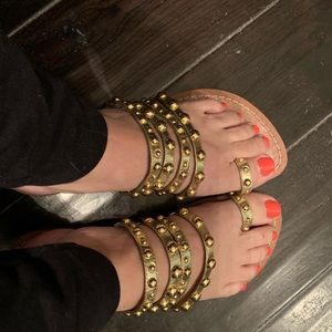 BCBG girls gold sandals 7